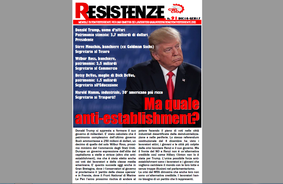 E' uscito RESISTENZE 91 – Dicembre 2016/Gennaio 2017