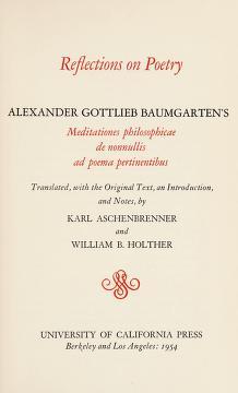 Cover of: Reflections on poetry   Alexander Gottlieb Baumgarten